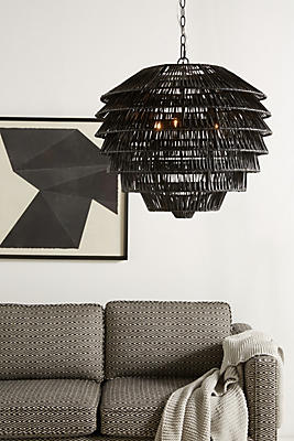 Slide View: 1: Tiered Rattan Pendant