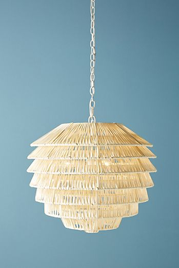 Unique chandeliers pendant lighting anthropologie tiered rattan pendant mozeypictures Images