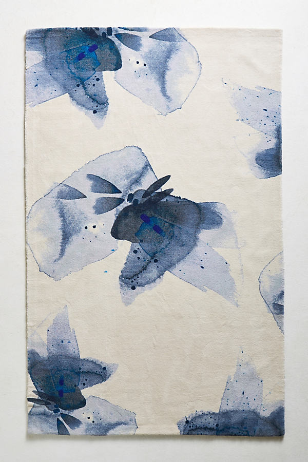 Azul Watercolour Rug - Blue, Size 8 X 10