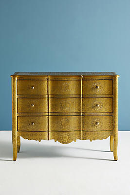 Slide View: 1: Hand-Embossed Three-Drawer Dresser