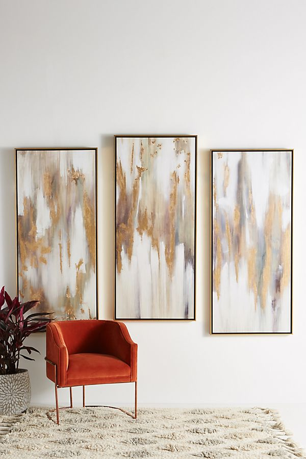 Slide View: 4: Gold Bull Triptych Wall Art
