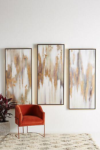 Gold wall decor wall art wall mirrors anthropologie gold bull triptych wall art teraionfo