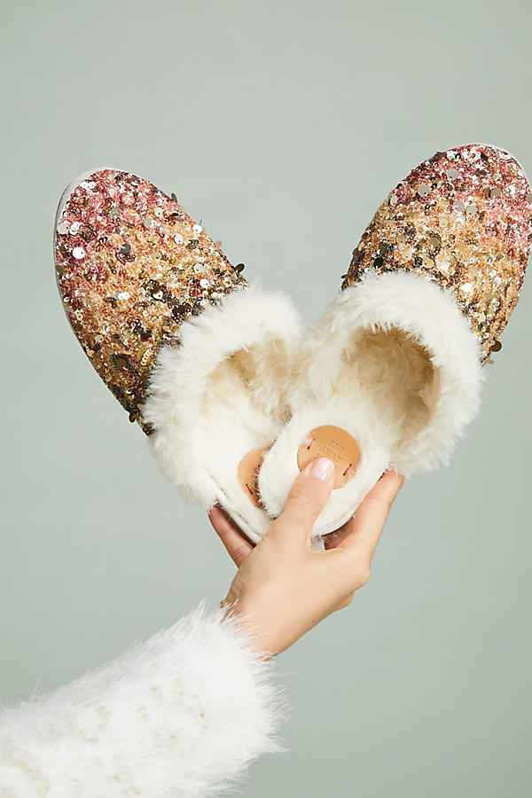 Ombre sequin slide slippers