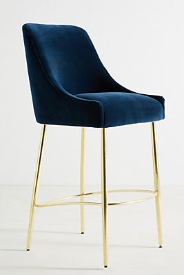 Slide View: 1: Velvet Elowen Bar Stool