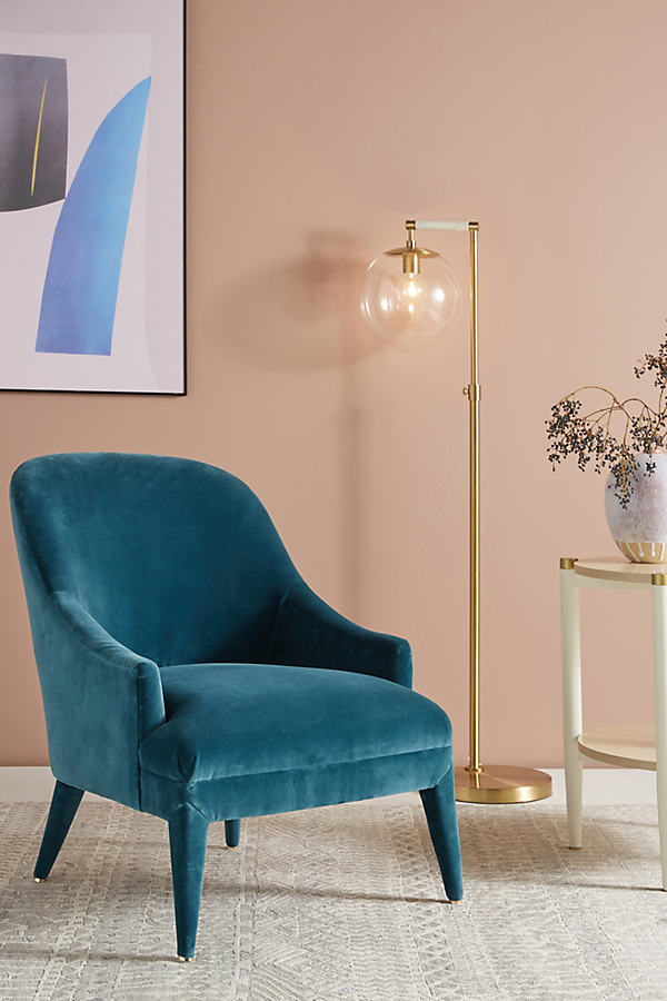 Elowen Velvet Chair - Blue Green