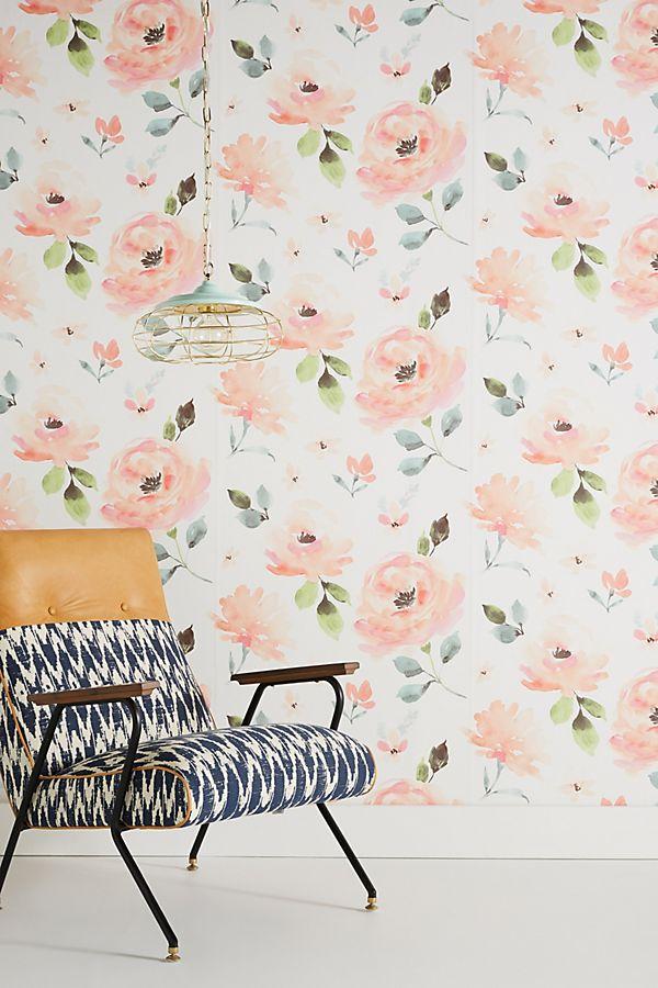 papier peint fleurs aquarelle anthropologie. Black Bedroom Furniture Sets. Home Design Ideas