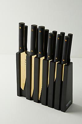 Slide View: 1: Golden 13-Piece Knife Block Set