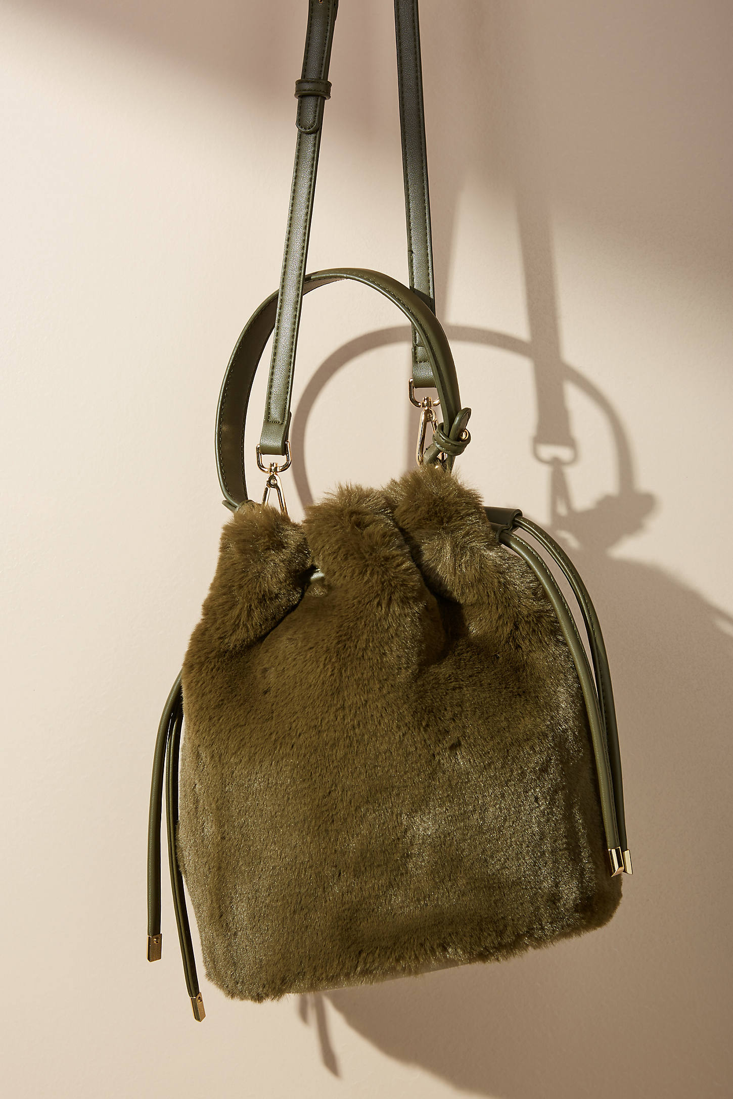 Faux Fur Crossbody Bucket Bag