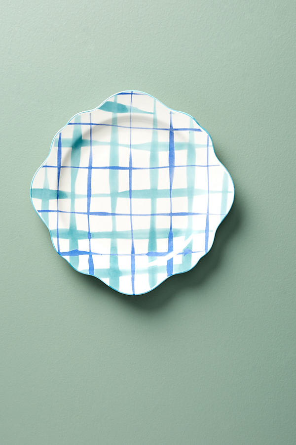 Hilde Plaid Dinner Plate - Blue Motif, Size Dinner