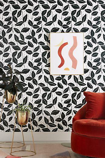 excellent funky wallpaper for house. Black  White Garden Wallpaper Modern Unique Anthropologie