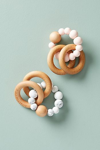 Baby shower gifts baby gift ideas anthropologie bubble silicone and wood teether negle Images