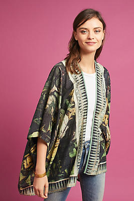 Slide View: 1: Painterly Floral Kimono