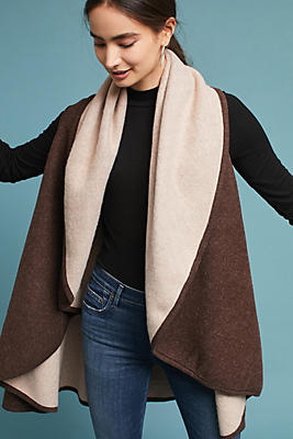 Slide View: 1: Two-Toned Shawl Vest