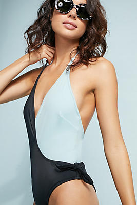 Slide View: 1: Solid & Stripes The Matilde Colorblocked One-Piece Swimsuit