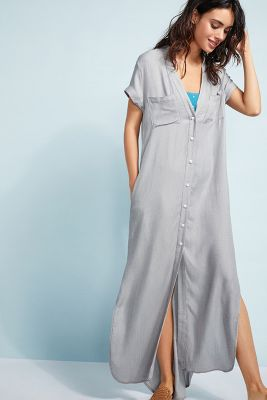 Onia   Onia Kim Button-Front Maxi Coverup  -    BLUE MOTIF