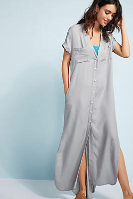 Slide View: 1: Onia Kim Button-Front Maxi Coverup