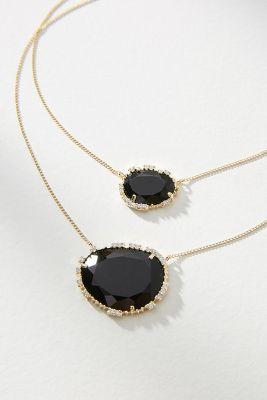 Serefina   Double Stone Pendant Necklace  -    BLACK