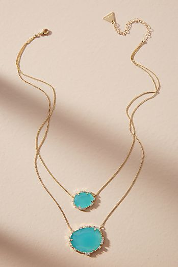Delicate necklaces for women anthropologie double stone pendant necklace aloadofball Gallery
