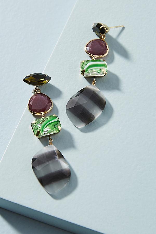 Mixed Stone Drop Earrings - Green