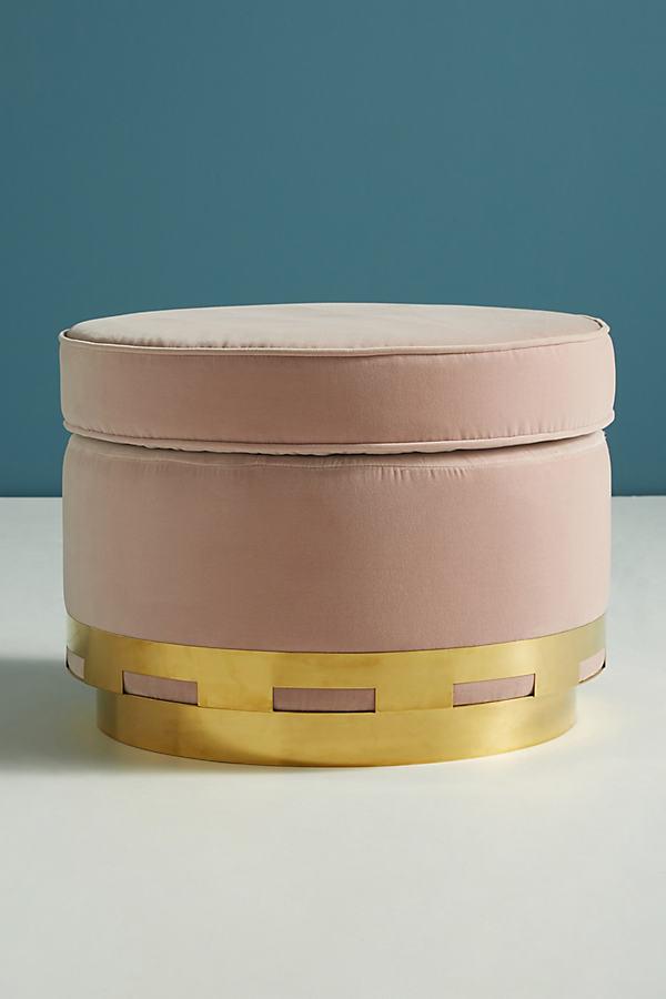 Velvet Carousel Ottoman - Pink