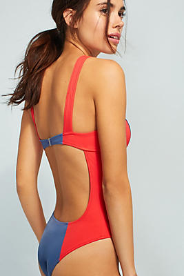 Slide View: 1: Solid & Striped The Hailey Colorblocked One-Piece Swimsuit