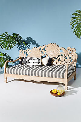 Slide View: 6: Handcarved Lotus Indoor/Outdoor Daybed