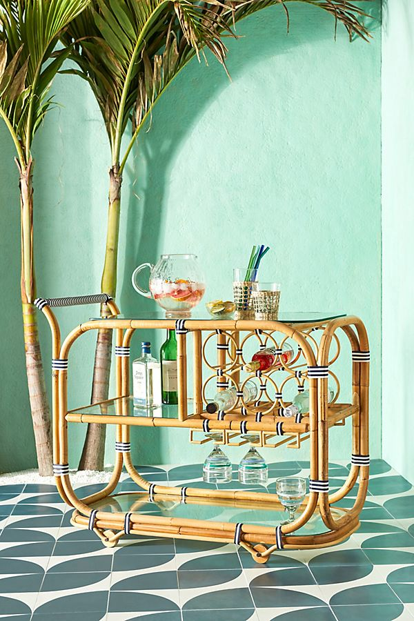Slide View: 1: Wrapped Rattan Indoor/Outdoor Bar Cart