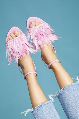 Pour La Victoire   Pour La Victoire Layla Feathered Sandals  -    PINK