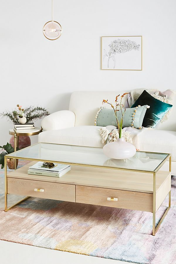 Framed Brass Coffee Table | Anthropologie