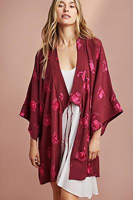 Slide View: 1: Embroidered Kimono Robe