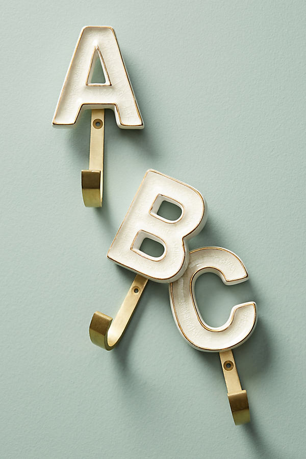 Ceramic Monogram Hook - Assorted, Size B