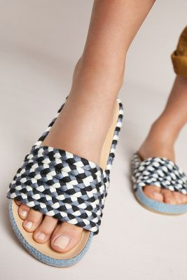 Soludos   Soludos Braided Pool Slide Sandals  -    BLUE MOTIF
