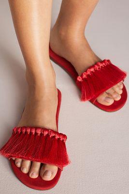 Schutz   Schutz Maduna Tassel Slide Sandals  -    RED