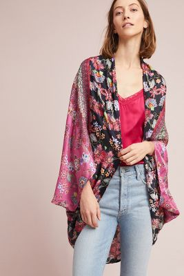 Kachel   Winnie Silk Kimono  -    Plum Motif