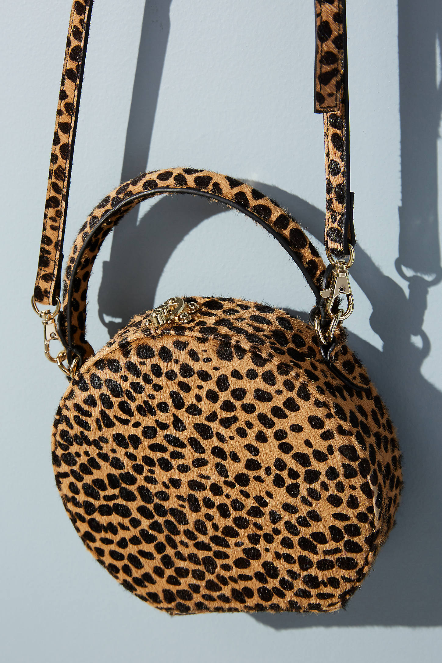 Circular Leopard-Print Crossbody Bag