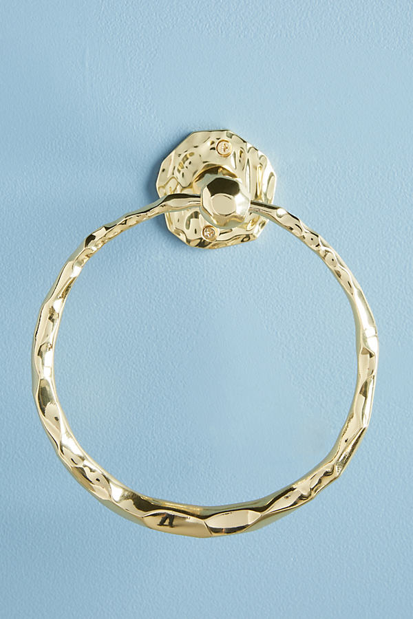 Forged Brass Towel Ring - Gold, Size M