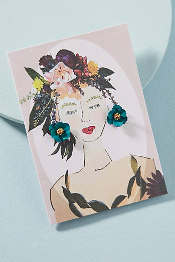 Garden Girl Earrings & Postcard