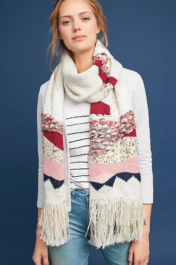 Hello Hydrangea x Anthropologie Sequined Blanket Scarf - Pink