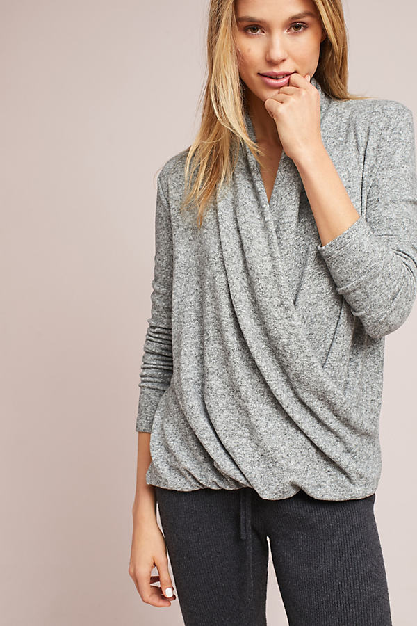 Clayton Brushed Fleece Wrap Top - Grey Motif, Size L