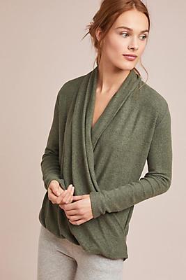 Slide View: 1: Brushed Fleece Wrap Top
