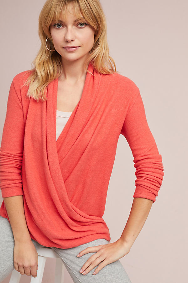 Clayton Brushed Fleece Wrap Top - Coral, Size M