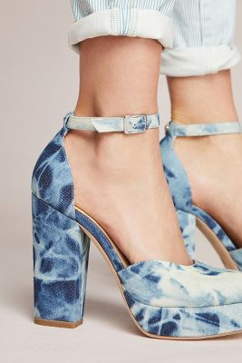 Bill Blass   Bill Blass Ellie Bleached Denim Platform Heels  -    BLUE