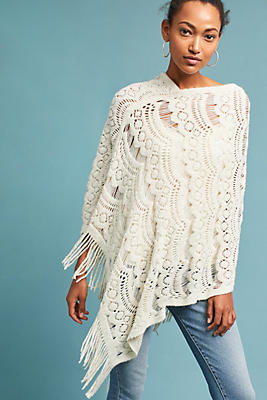Slide View: 1: Fringed Lace Poncho