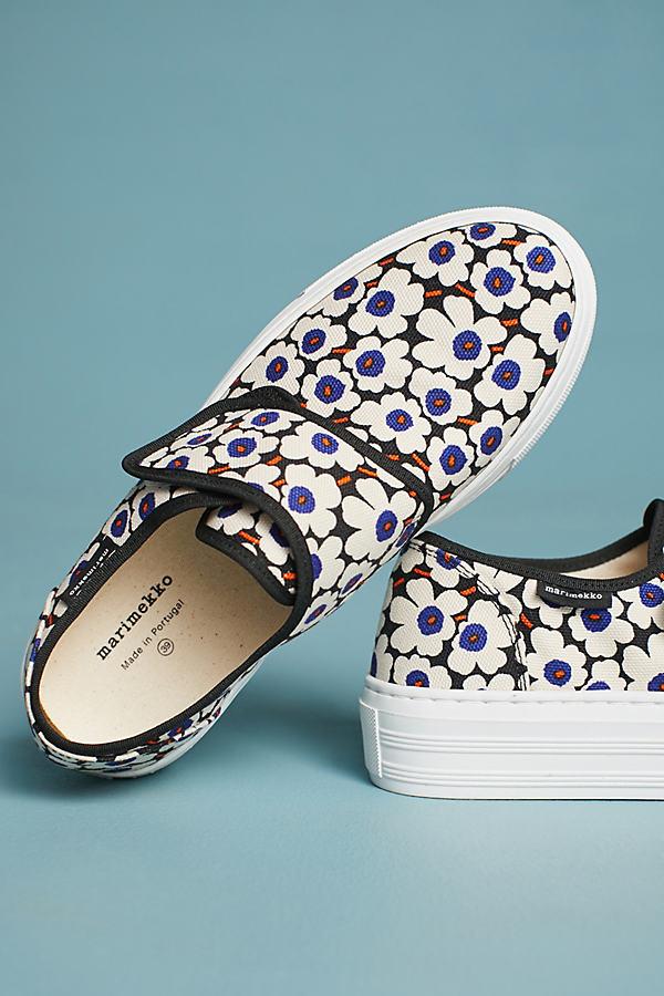 Marimekko Floral Sneakers - Black Motif, Size 40