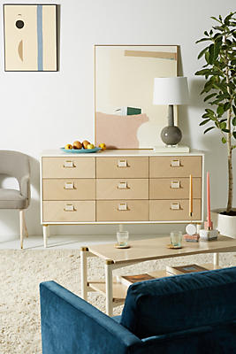 Slide View: 1: Geo-Marquetry Nine-Drawer Dresser