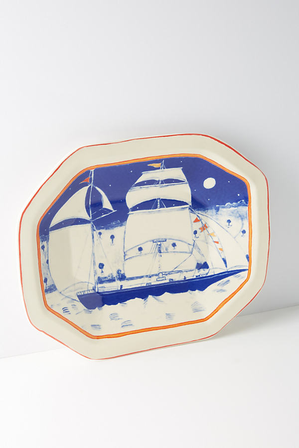 Come Sailing In Platter - Blue Motif, Size Pltr/tray