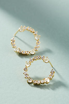 Anthropologie Chain Hooped Post Earrings
