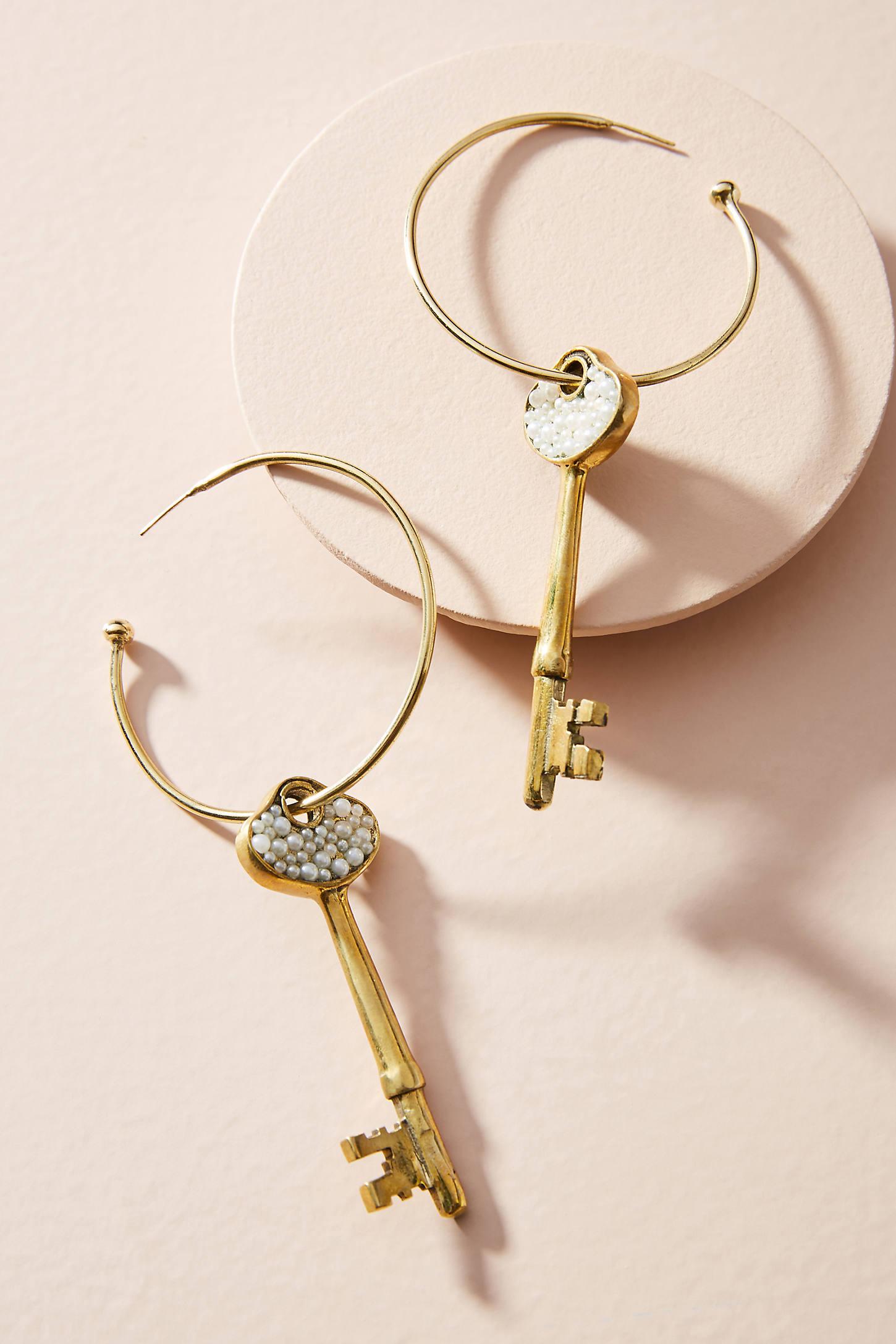 Pearled Key Hoop Earrings