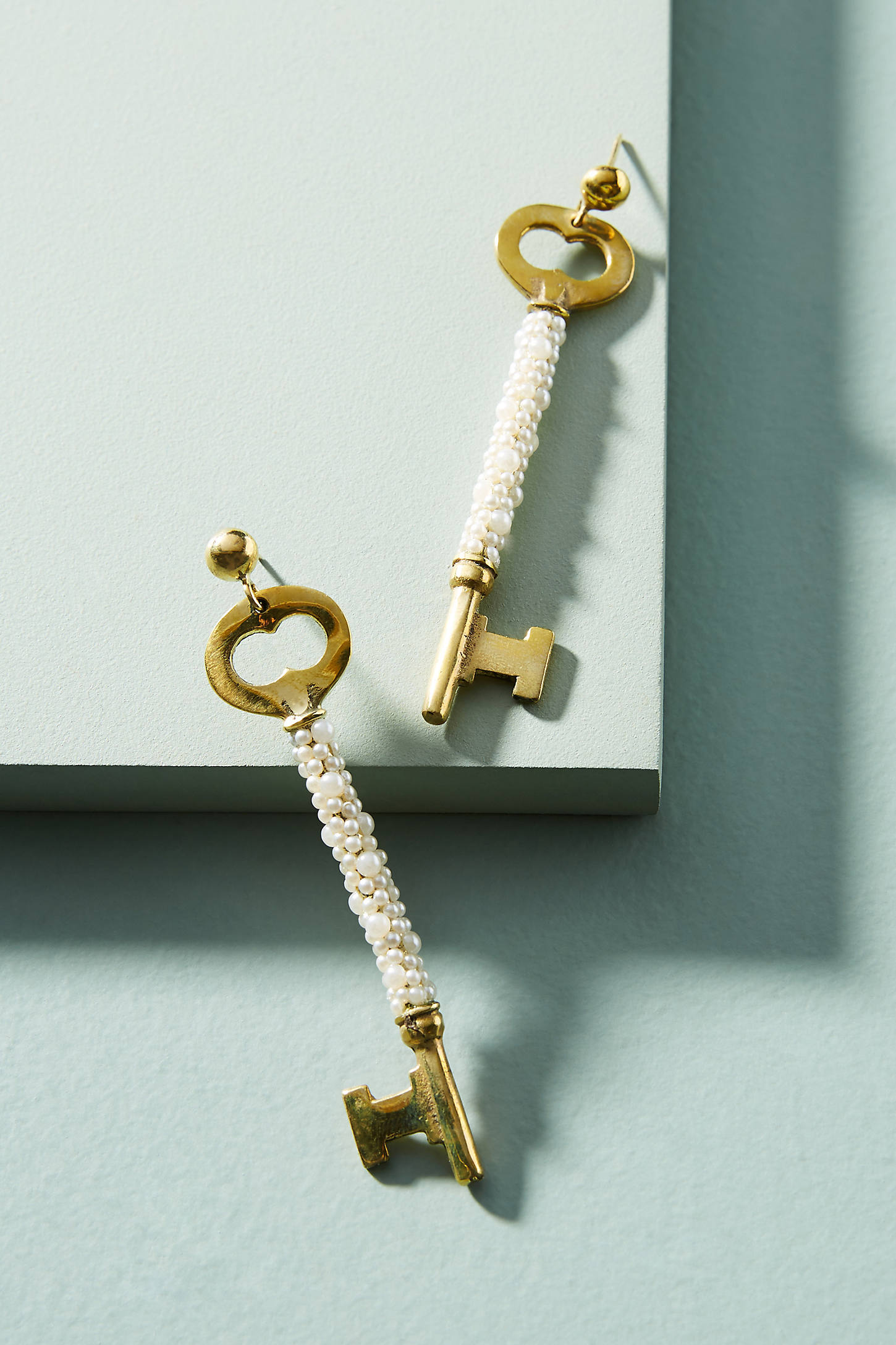 Pearled Vintage Key Earrings