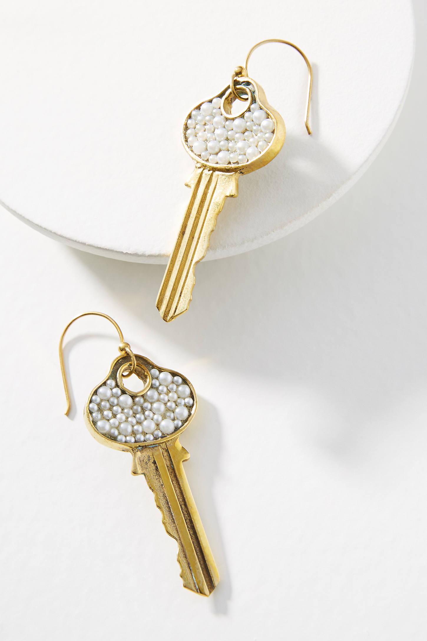 Pearled Door Key Earrings